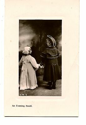 Little Boy-Girl-Colonial Clothes-Evening Walk-RPPC-Vintage Real Photo Postcard (Colonial Boy Clothing)