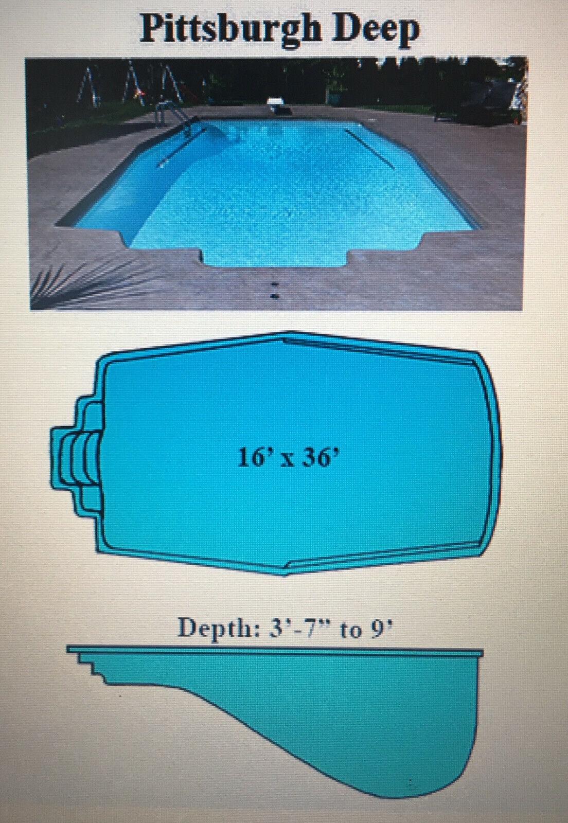 Inground Fiberglass Swimming Pool 16' X 36'