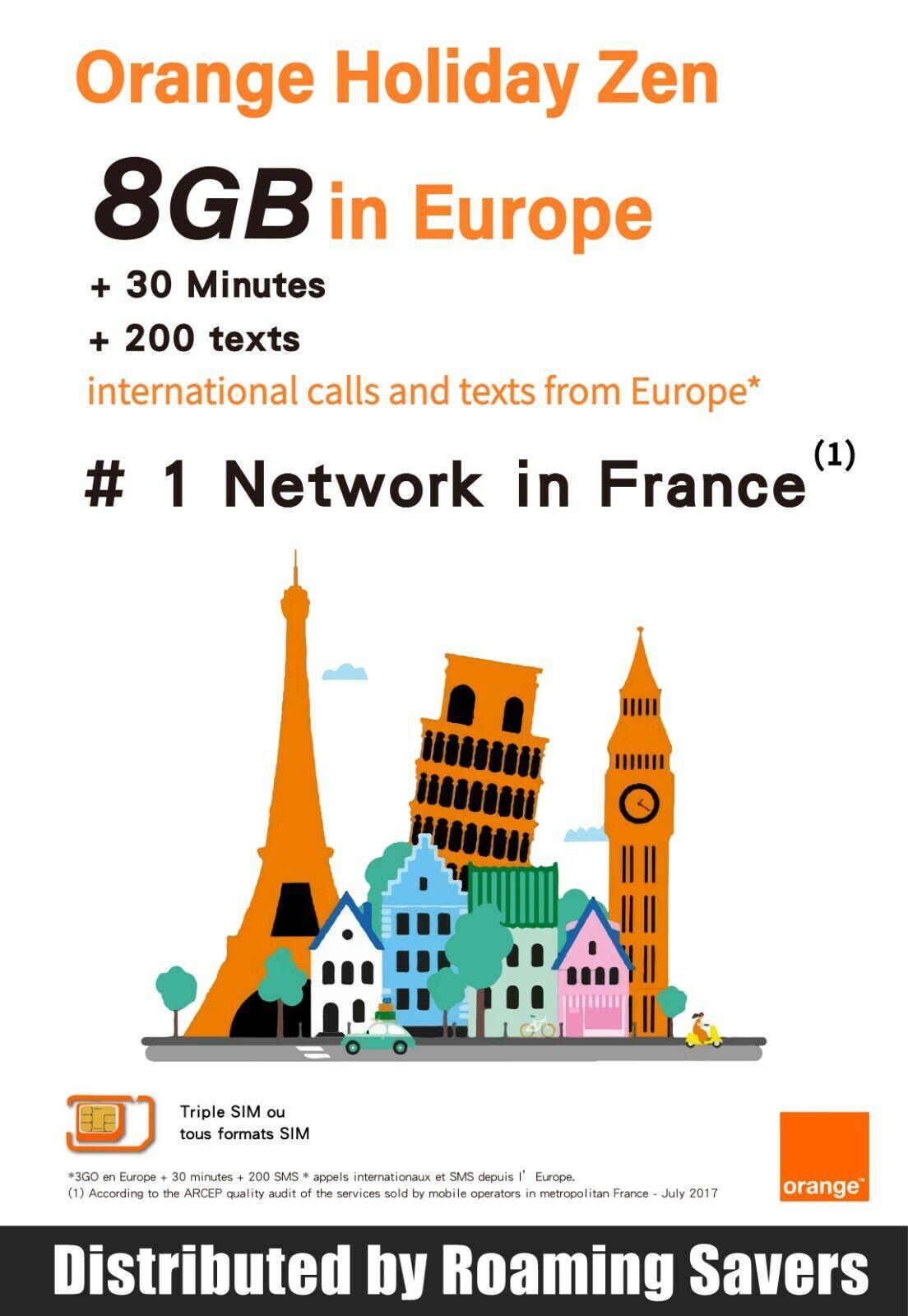 Orange Holiday Europe SIM Card 14 Days 3+5GB Data +Internati
