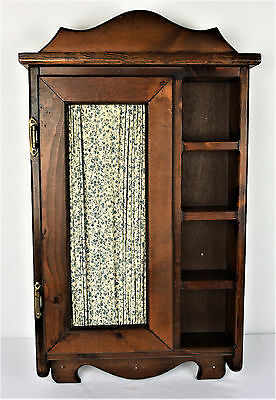 Vintage Wood Medicine Wall Cabinet Original Curtain With Tag Post World War II