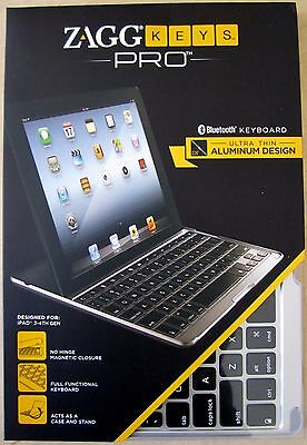 ZAGG Keys PRO Bluetooth Keyboard for iPad 2/3/4 Aluminum w/o Backlight *NIB