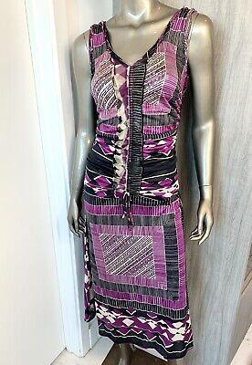 Jean Paul Gaultier MAILLE FEMME Purple Print Dress Vintage Made in Italy Sz M