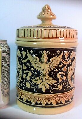 Vtg GERMAN Pottery HUMIDOR Jar Pipe Tobacco VALKYRIE DRAGONS Serpents