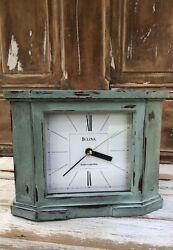 Bulova Tabletop Clock aqua B1854 Quartz Radio Controlled Chippy Paint Home Decor