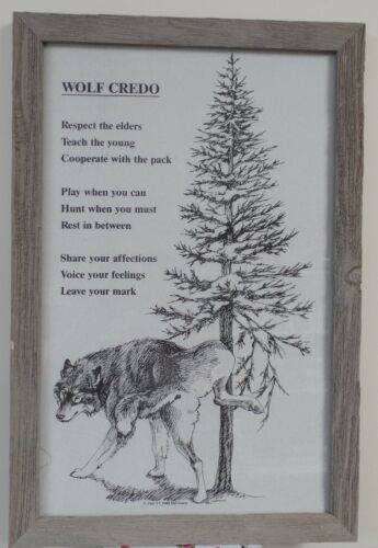 """Wolf Credo"" Print by Del Goetz 16x19"" Framed (#117)"