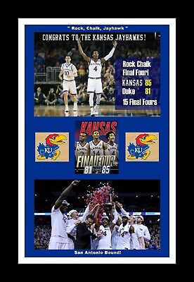 Kansas Jayhawks Mat - KANSAS JAYHAWKS BEAT DUKE ELITE 8 MATTED SINGLE PIC FINAL SECONDS @CELEBRATION#3