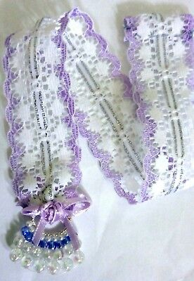 Beaded Lace Bookmark (1 x white mauve lace Ribbon Bookmark with rose and beaded end)