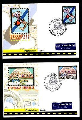 Italia 2004 : Sicurezza Stradale - 2 Cartoline Ufficiali Poste Italiane