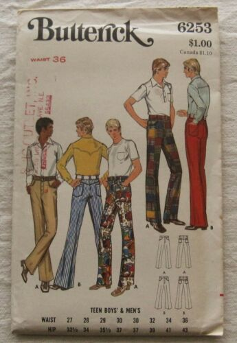 Vintage Pants Sewing Pattern*Butterick 6253* Waist Size 36*Retro Mens*70s*flared