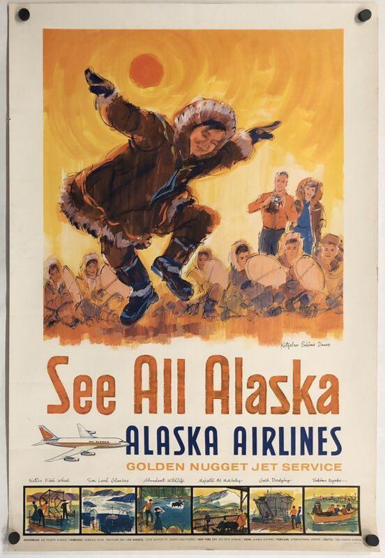 Original Vintage Poster ALASKA AIRLINES - SEE ALL ALASKA Airline Travel Eskimo