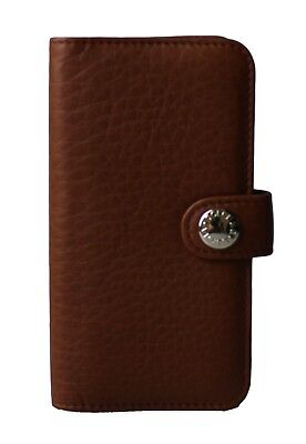 NEW $220 DOLCE & GABBANA Phone Case Skin Brown Leather Logo Cover 13x7cm iPhone5