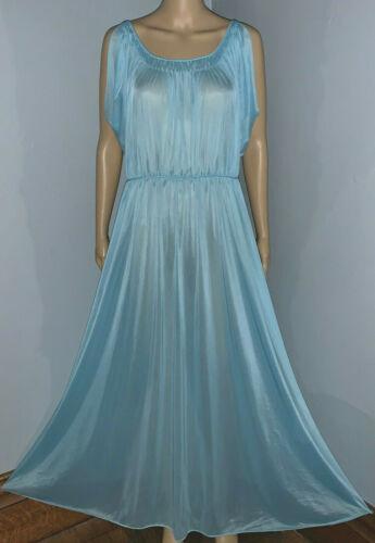 Vtg Vanity Fair Blue Ultra Sheer Nylon Pleated Long Flowing Sissy Nightgown M