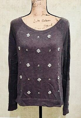 ⭐️ HOLLISTER ⭐️ Lady Medium Charcoal Black Flower Sequence Sweater Sweatshirt ()