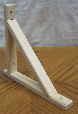 "NEW Natural Wooden Decorative 10.5"" x 9"" Shelf Bracket! Unfinished Wood Supports"
