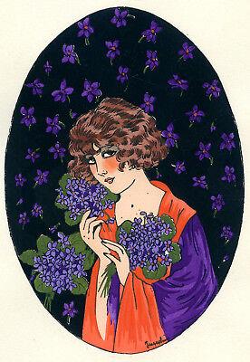 1930s French Pochoir Print Young Flapper Woman Fashion w/ Lilac Jacquelyn (S)