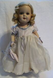 Antique R & B Composition Doll All Original Loop Skirt Wig Marked Nancy 1940's