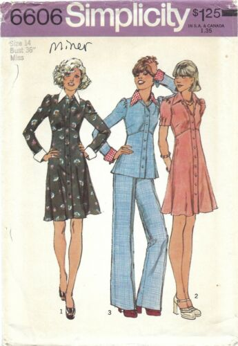 Simplicity 6606 Dress or Top w Pointed Collar, French Cuffs & Pants Sz 14 UNCUT