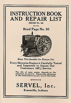 Hercules Servel Gas Engine Motor Manual Book Hit Miss Webster Wico Ek Pr Sears