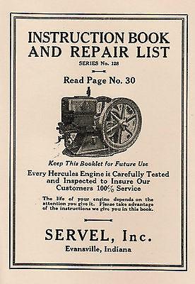 Hercules Servel Gas Engine Motor Manual Book Hit Miss Webster Wico Ek Pr Sears