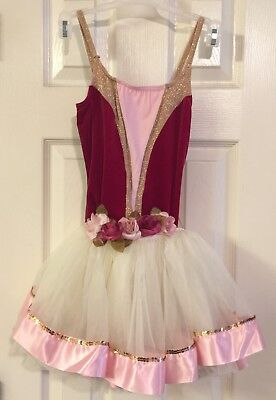 Weismann Girls Ballet Pink Rose Halloween Dance Costume Dress Skirt Tutu Medium ()