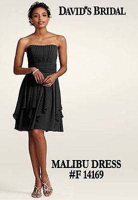 Used, DAVID'S BRIDAL Strapless Chiffon Dress Layered Skirt F14169 MALIBU Sz12 BLK $140 for sale  Glendale