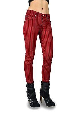 Skinny Railroad Stripe (TRIPP BLACK RED RAILROAD STRIPE JEAN PANTS MOTO METAL SKINNY GOTH EMO)