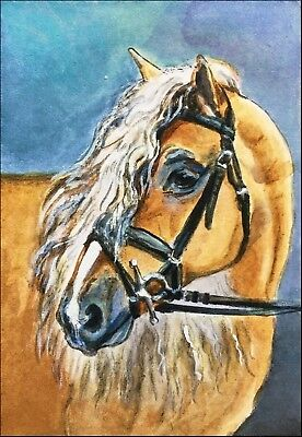 """ACEO-ORIGINAL painting by G. Liedtke - Horses -""""Haflinger"""" Draft, Mountain, used for sale  Shipping to Canada"""