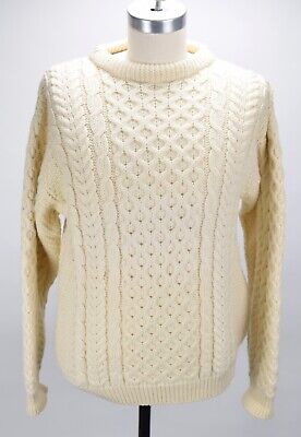 VINTAGE LL BEAN FISHERMAN HONEYCOMB CABLE KNIT SWEATER MENS M MADE IN IRELAND