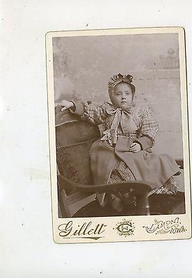 """CABINET CARD,Vintage Photo, Toddler in bonnet, Lamont, Iowa """"Nellie Wyman"""""""