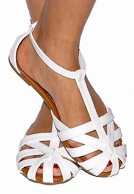 Women Sandals Gladiator Ankle T-Strap Mary Jane Flat Shoes Ballet Caged Strappy