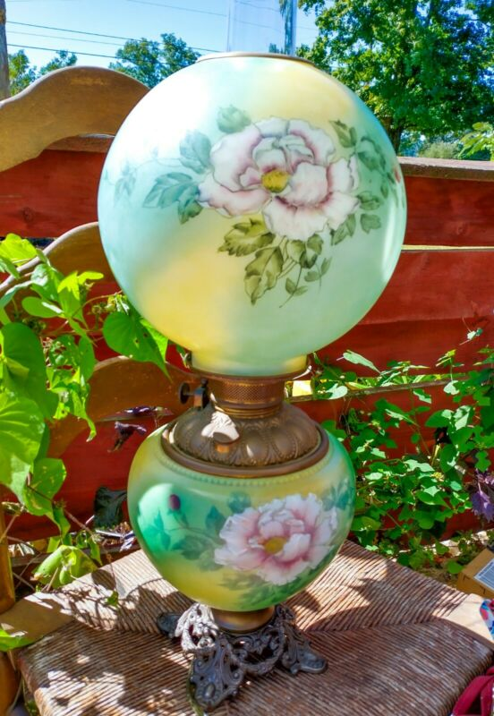 "Antique Green Globe Gone With The Wind Hurricane Parlor Lamp Painted 25"" USA"