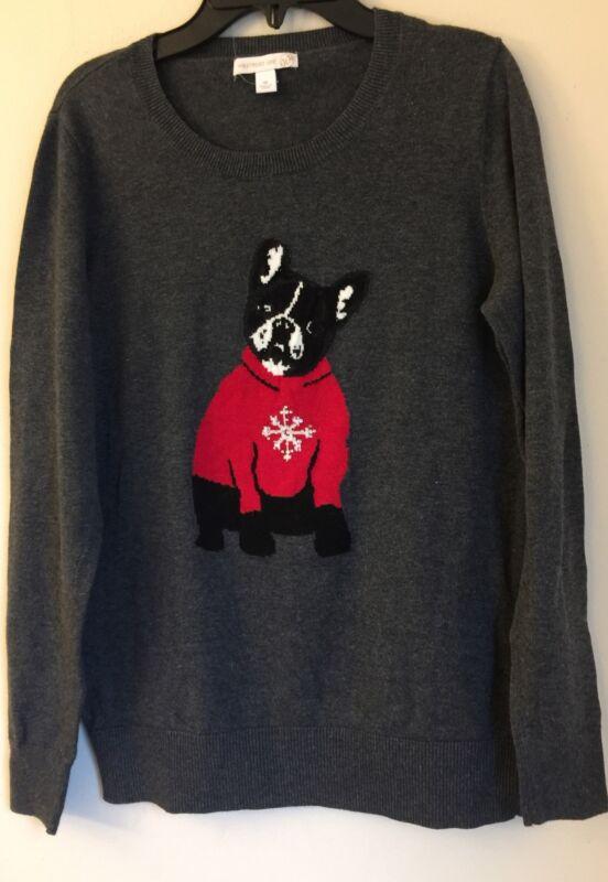 French Bulldog Womens Embellished Sweater