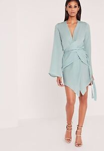 Missguided peace   love long sleeve kimono wrap dress duck egg blue size10