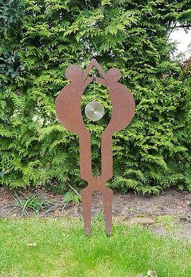 Gartenskulptur Figur aus Stahl Rost mit Edelstahl Windspiel (Mann/Frau) gebraucht kaufen  Berlin