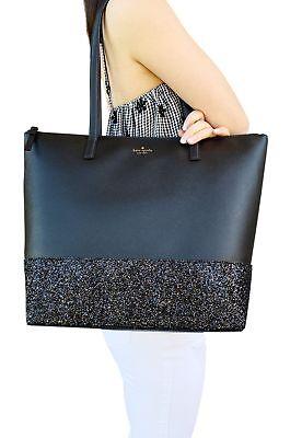 Kate Spade Greta Court Penny Glitter Large Top Zip Tote Black Glitter