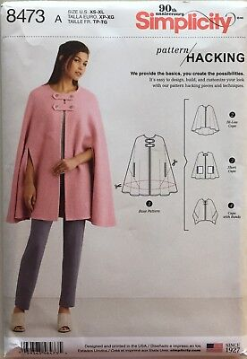 Simplicity 8473  Misses Cape with Pattern Hacking  Sizes:  XS - XL