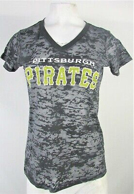 Pittsburgh Pirates Women's Dark Gray G-III Distressed V-Neck (G-iii Distressed T-shirt)
