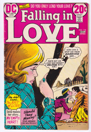 FALLING IN LOVE 138 (1972 DC) Native American woman cover; VG 4.0