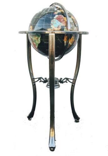 "36"" Tall Tripod Silver Stand Black Pearl Ocean Gemstone World Globe Limited Ed"