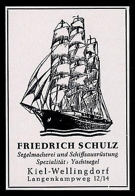 Werbung Reklame 1958 Segelmacherei Friedrich Schulz Kiel-Wellingdorf