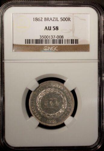 Brazil 500 Reis 1862  NGC AU 58 Silver