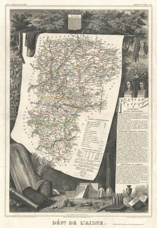 1852 Levasseur Map of the Department L