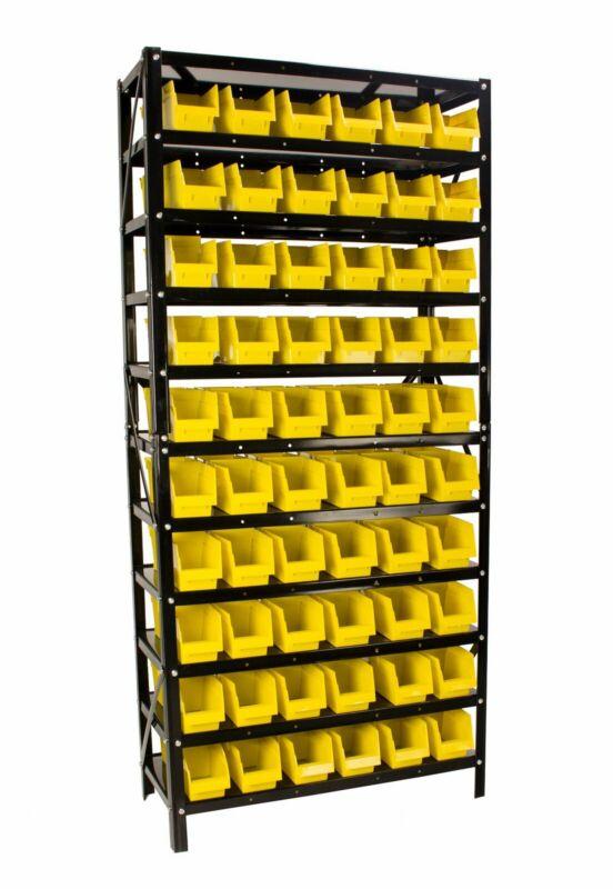 Erie Tools® 60 Bin Parts Rack Storage Shop Garage Organizer Nuts Bolts Parts