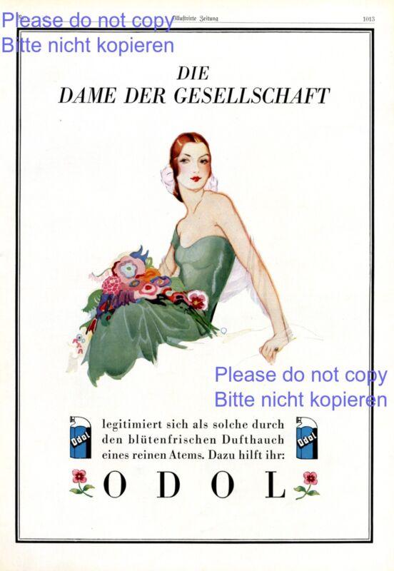 Mouthwash Odol XL German ad 1925 Lady of the society fresh breath cleavage ad +