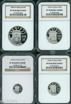 Platinum Ngc Coin Set - 1998-W PROOF PLATINUM EAGLE STATUE LIBERTY NGC PR70 PF70 4COIN SET $100 50 25 10