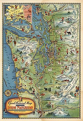 1936 pictorial map Ancient Arabic Order Mystic Shrine Shriners POSTER 8848000