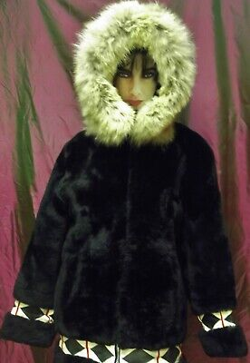 Vtg. 60s Alaskan Inuit Eskimo Mouton Lamb & Coyote Fur Hooded Parka Coat~Nice!  Coyote Fur Parka