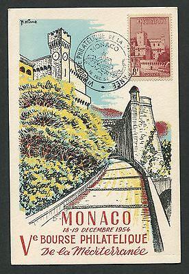 MONACO MK 1954 PALAIS DU PRINCE PALAST MAXIMUMKARTE MAXIMUM CARD MC CM d1203