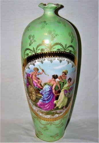 "Antique ES Germany Large Porcelain Portrait Vase - 13-3/8"" Tall"