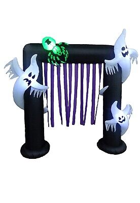8 Foot Halloween Inflatable Ghosts Spider Archway Arch LED Lights (a)
